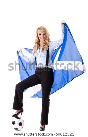 young attractive blonde female hold scottish flag, studio shoot isolated on white