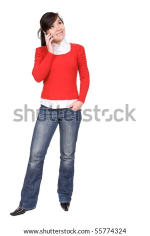 young attractive brunette woman over white background