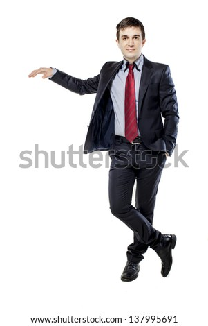 young attractive business man in black suite on white background