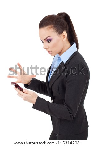 young attractive business woman angry on her phone on white background