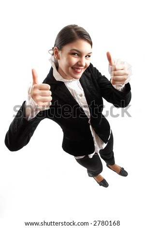 Young attractive business woman being happy on white background