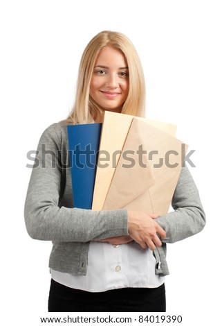 Young attractive business woman with documents, isolated on white background - stock photo
