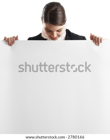 Young attractive businessman with white card in front