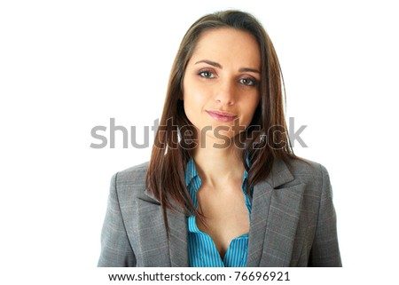 young attractive businesswoman, in blue shirt and grey suit, isolated on white