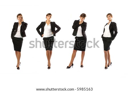 Young attractive businesswoman isolated on white (4 variations)