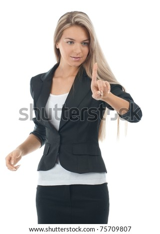 Young attractive businesswoman pressing the touchscreen button. Isolated on white.