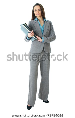 young attractive businnesswoman in grey suit and blue shirt, full body shoot isolated on white background