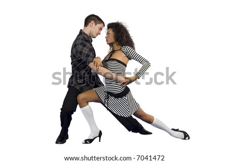 Young attractive couple dancing latino dance, isolated on white background