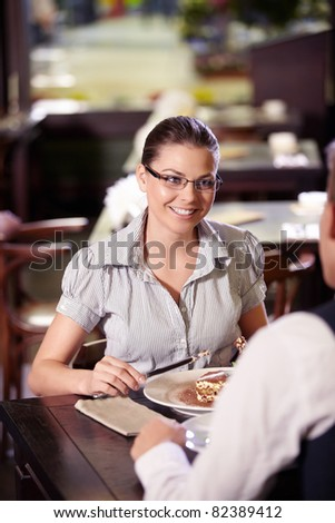 Young attractive couple in a restaurant