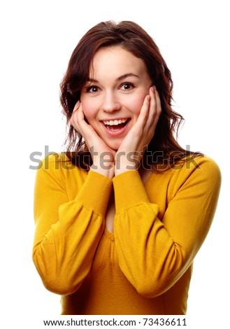 Young attractive girl holding her face in astonishment, isolated over white