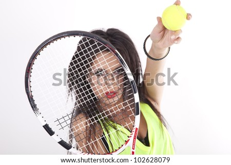 Young attractive girl tennis player.