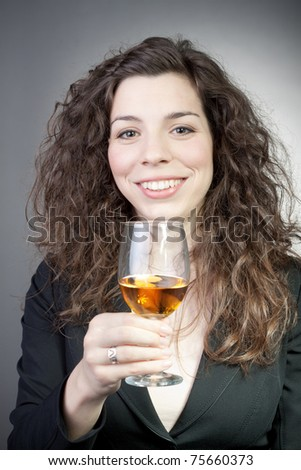 Young attractive happy smiling woman with wine