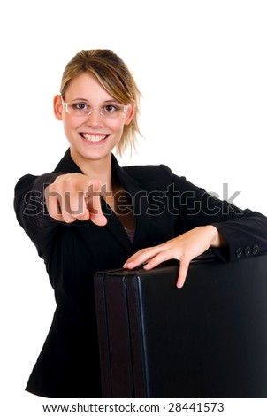 Young attractive joyful businesswoman.  studio shot, white background