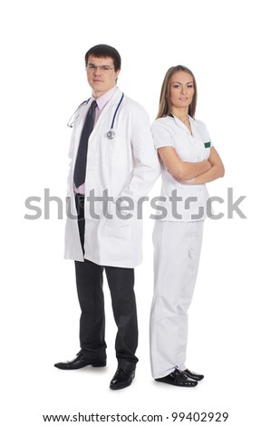 Young attractive medical workers isolated on white - stock photo