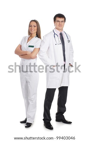 Young attractive medical workers isolated on white