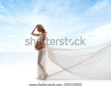 Young attractive pregnant woman over sky background