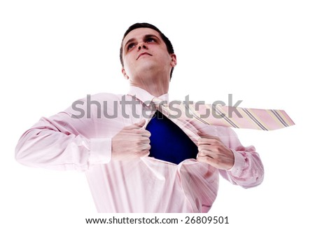young attractive superhero at white background