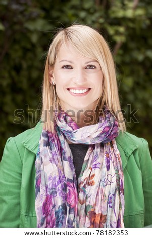 Young attractive woman casually dressed portraited in the park