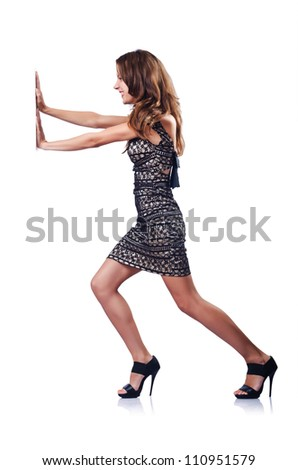 Young attractive woman pushing virtual obstacles