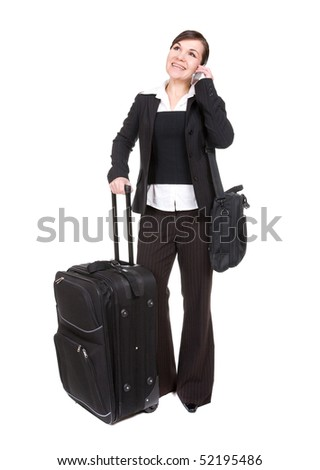 young attractive woman traveling with suitcase