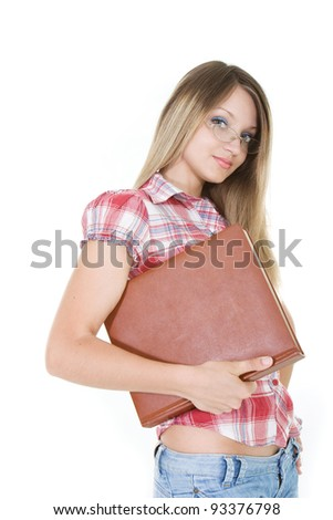 young attractive woman with book over white