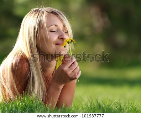 young attractive woman with flowers