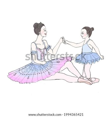 Young Ballerina and Prima Ballerina Blue Tutu Black Hair Stockfoto ©