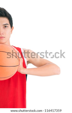 Young basketball player ready to throw the ball