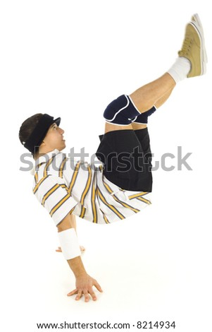 Young bboy standing on hands. Holding legs in air. Isolated on white in studio. Side view, whole body