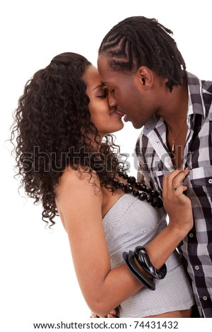 Young  beautiful African American couple kissing