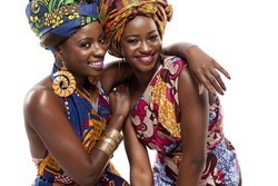 Young beautiful African fashion models in traditional dress.