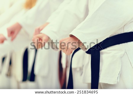 young, beautiful and successful karate woman and man in karate position Foto stock ©