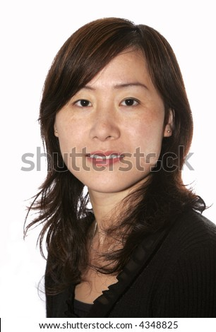Young Beautiful Asian Woman In Casual Black Clothes