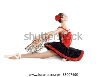 young beautiful ballerina on white background