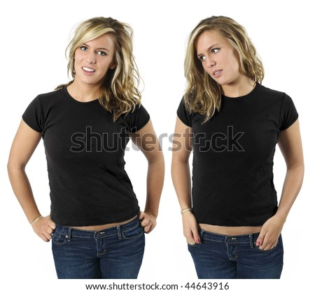 Young beautiful blond female with blank black shirts, front views. Ready for your design or logo.