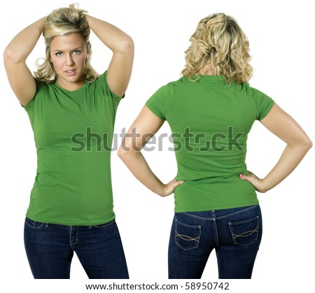 Young beautiful blond female with blank green shirt, front and back. Ready for your design or logo.