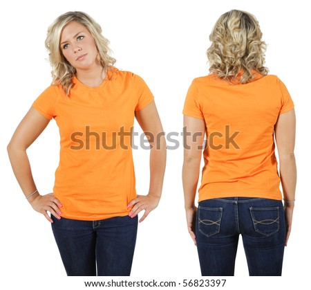 Young beautiful blond female with blank orange shirt, front and back. Ready for your design or logo.