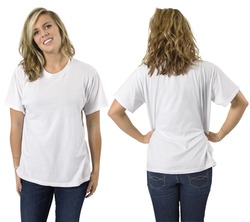 Young beautiful blond female with blank white shirt, front and back. Ready for your design or logo.