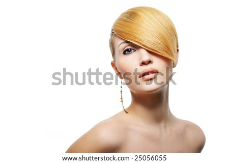 young beautiful blond female  with creativity hairstyle