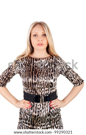 young beautiful blond girl in the leopard dress