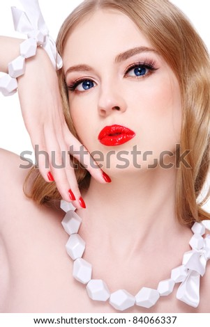 Young beautiful blond woman with glamorous make-up