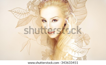 Stock Photo young beautiful blonde woman with perfect make up artwork