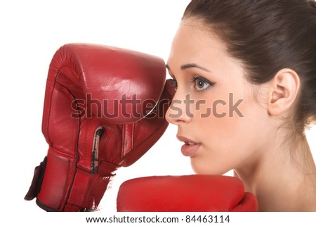 Young beautiful boxer woman with red boxing gloves, close up, isolated on white, series photo