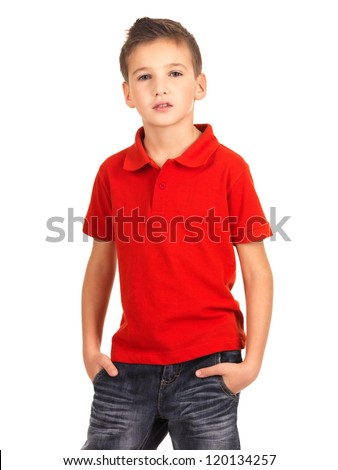 Young beautiful boy posing at studio as a fashion model. Photo of preschooler 8 years old over white background