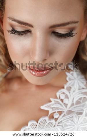 Young beautiful bride face close-up portrait