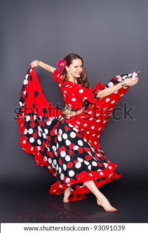 Young Beautiful Brunette Dancing Gypsy Dance Stock Photo ...