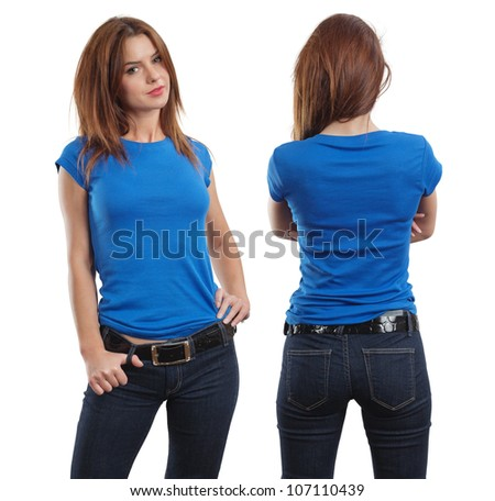 Young beautiful brunette female with blank blue shirt, front and back.