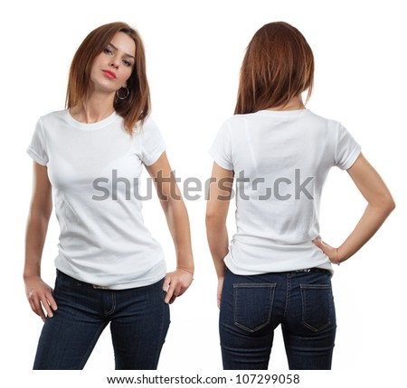 Young beautiful brunette female with blank white shirt, front and back. Ready for your design or artwork. - stock photo