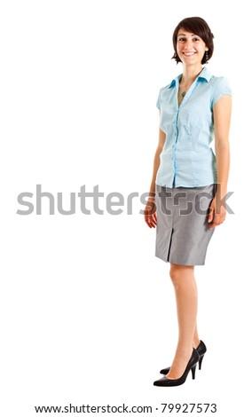 Young beautiful businesswoman full length