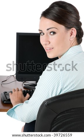 Young, beautiful businesswoman typing on keyboard at work, happy and smiling, isolated on white background